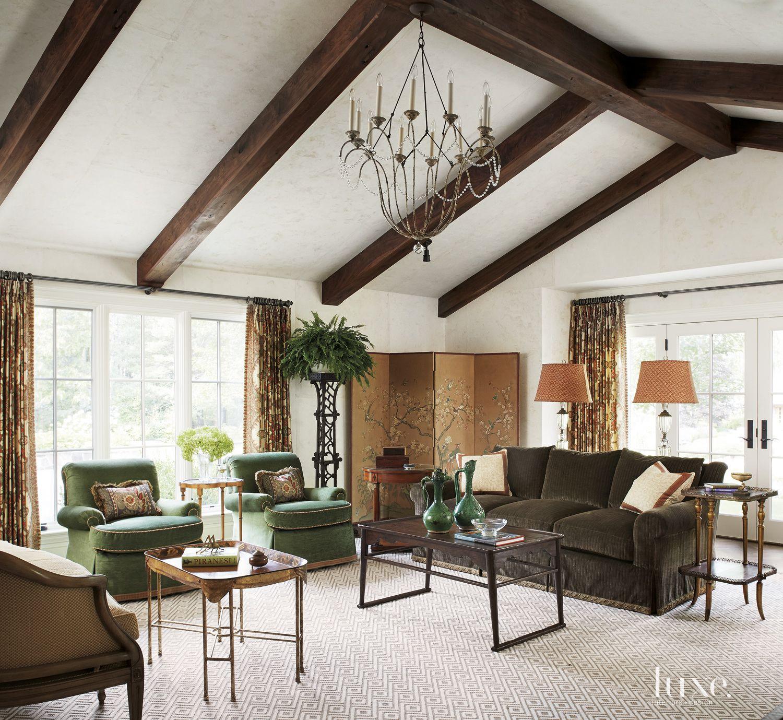 Transitional White Living Room with Velvet Sofa