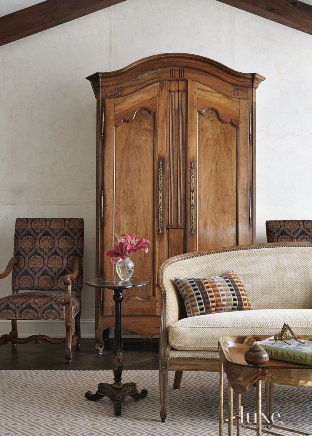 Transitional White Living Room Detail with French Armoire