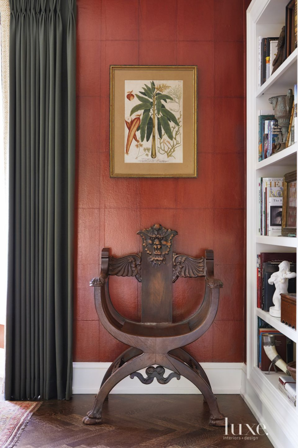 Transitional Living Room Detail with Savonarola Chair