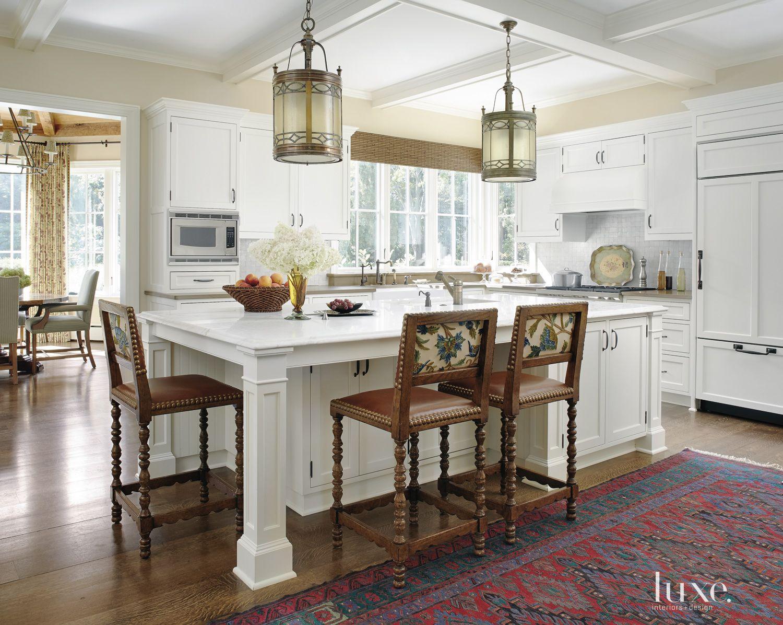 Transitional White Kitchen with Antique Lanterns