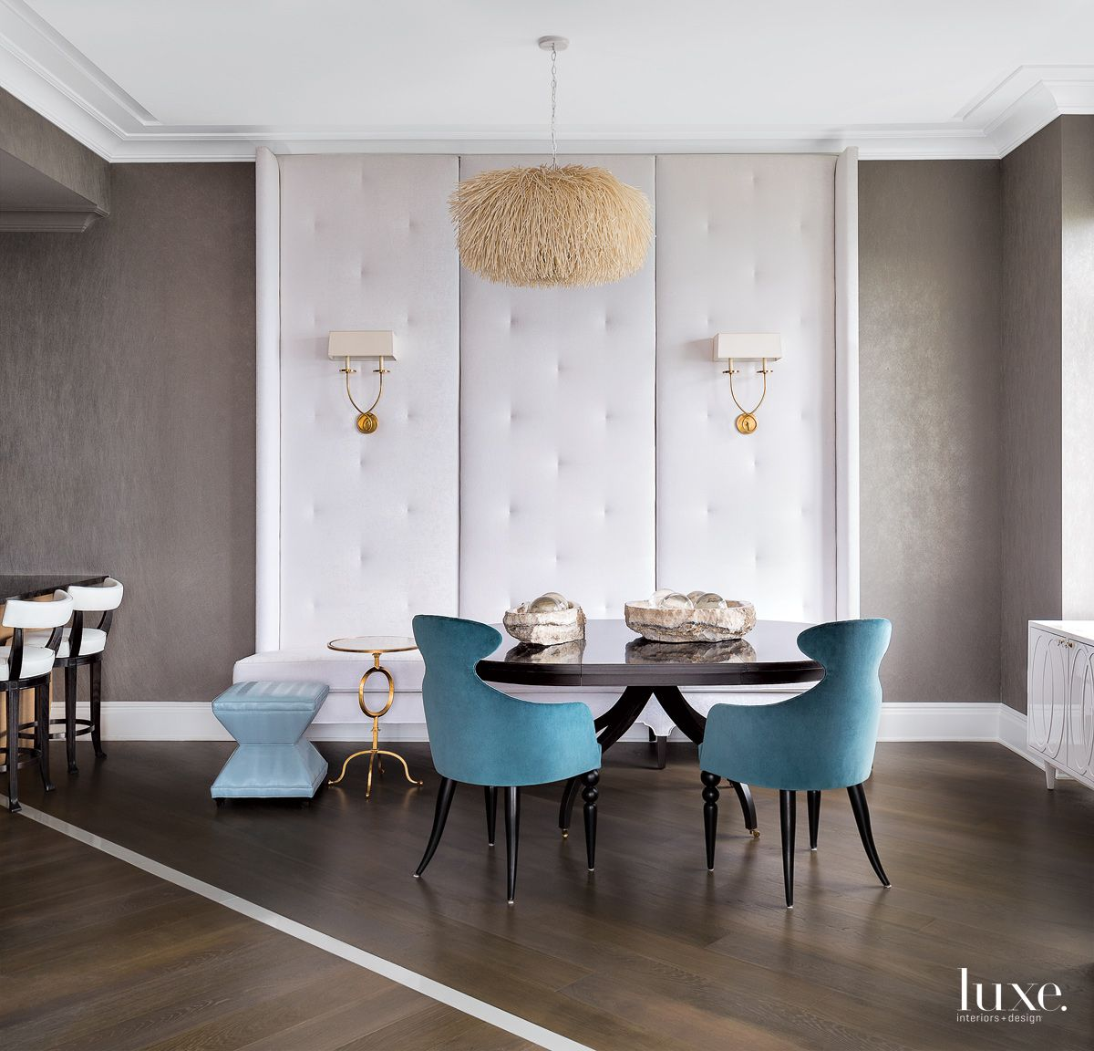 Eclectic Gray Dining Area with Tufted Banquette