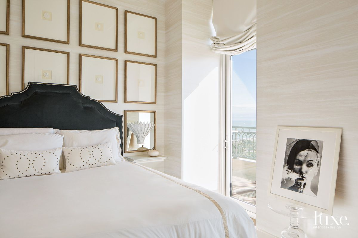 Traditional Cream Master Bedroom with City Views