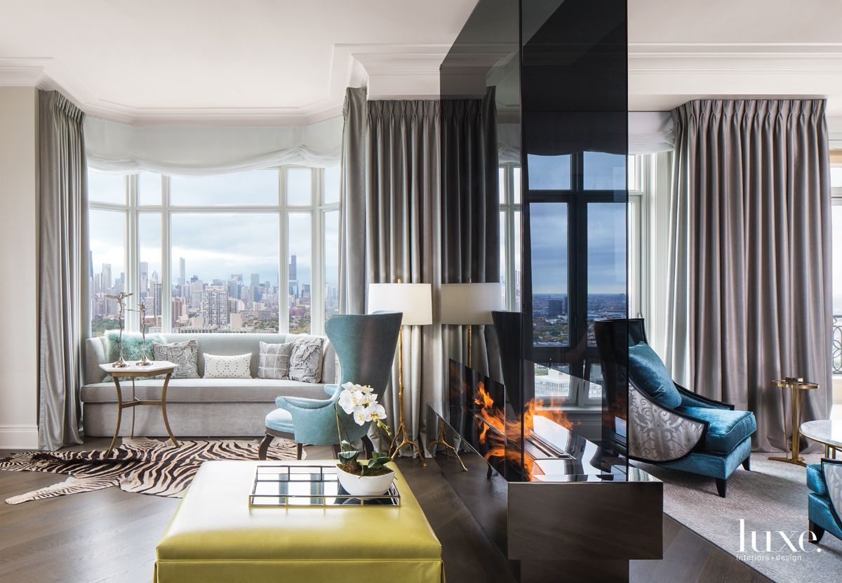 Eclectic Cream Living Room with City Views