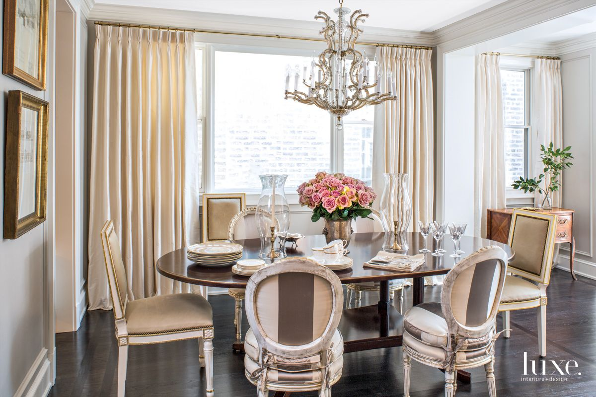 Traditional White Dining Room with Striped-Silk Chairs