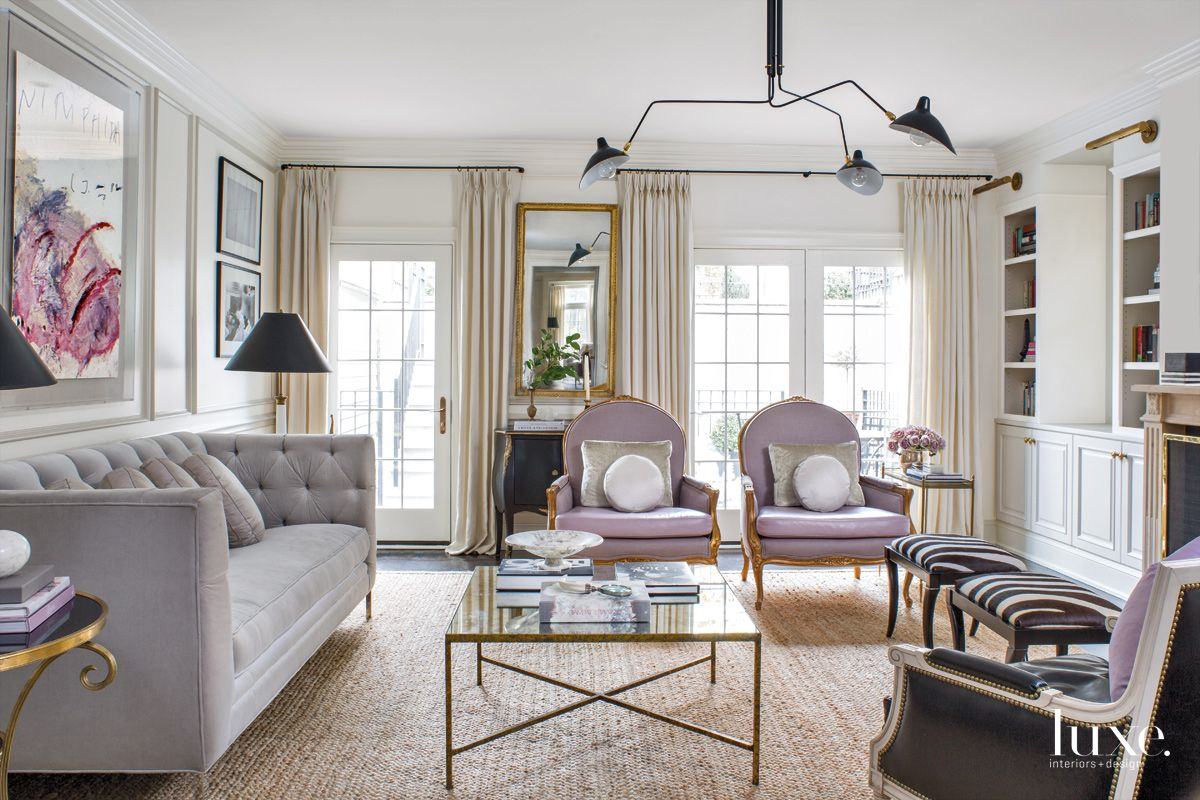 Traditional White Family Room with Vintage French Armchair