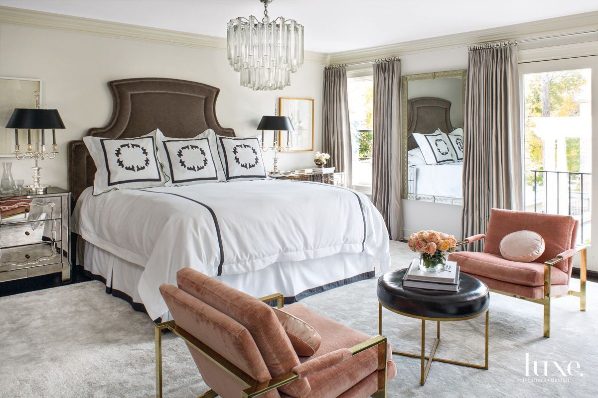 Traditional White Bedroom with Antique Mirrored Dressers