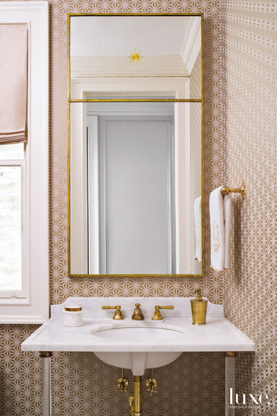 Traditional Pink Powder Room with Patterned Wallpaper