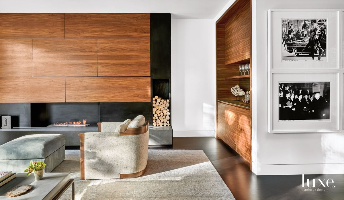 Contemporary Neutral Living Room with Walnut Panels