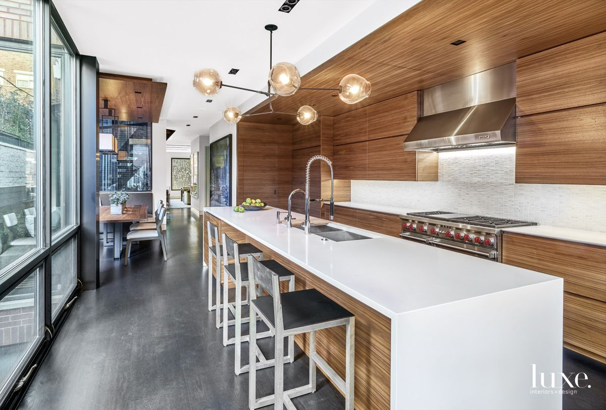 Contemporary Neutral Kitchen with Custom Walnut Cabinetry