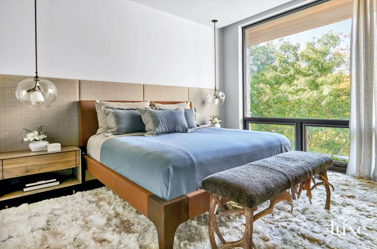 Contemporary White Master Bedroom with Alpaca-Hide Rug - Luxe ...