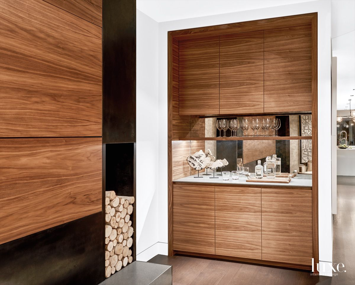 Contemporary Neutral Living Room Bar with Walnut Cabinetry