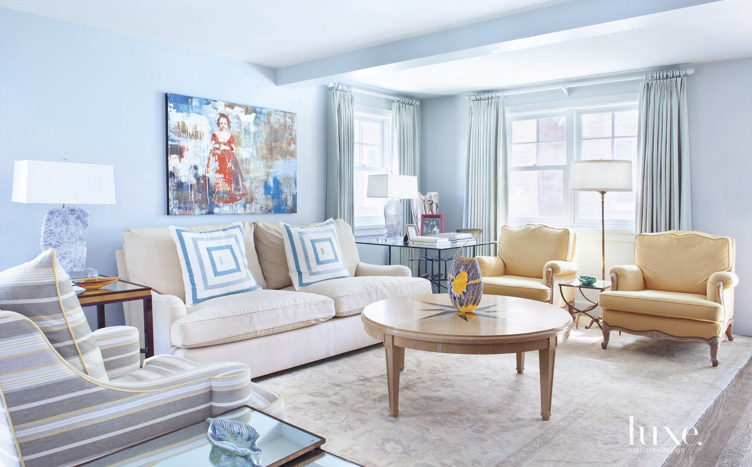 Traditional Blue Living Room with Eclectic Decor