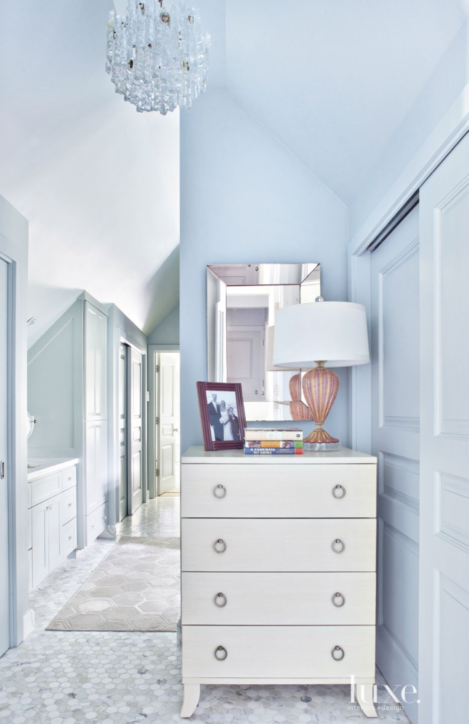 Traditional Blue Bathroom with Hints of Glamour