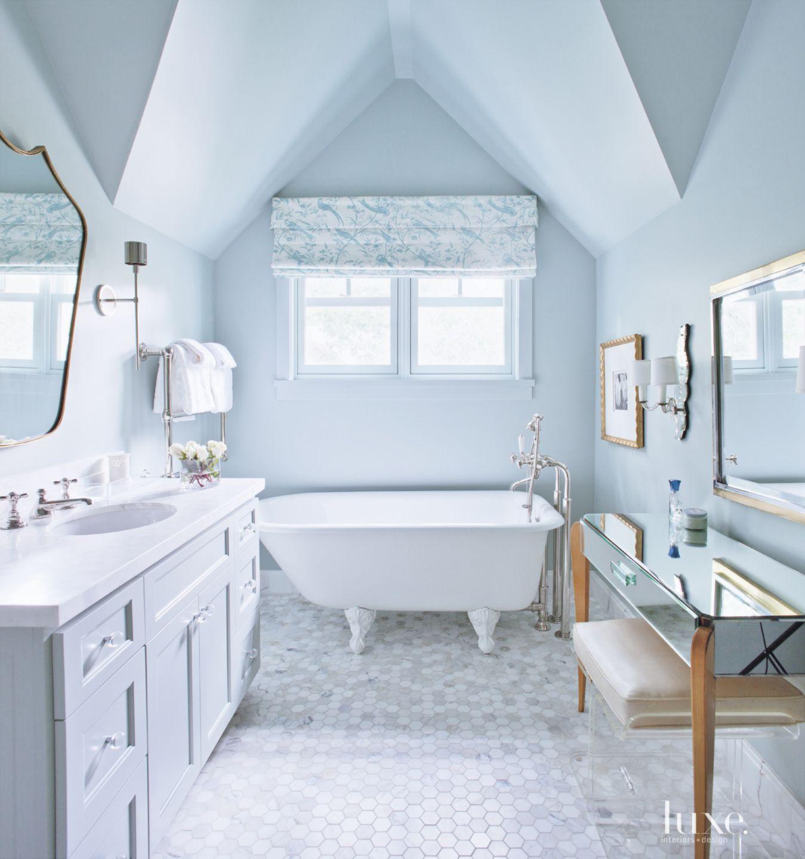 Traditional Blue Bathroom with Clawfoot Tub
