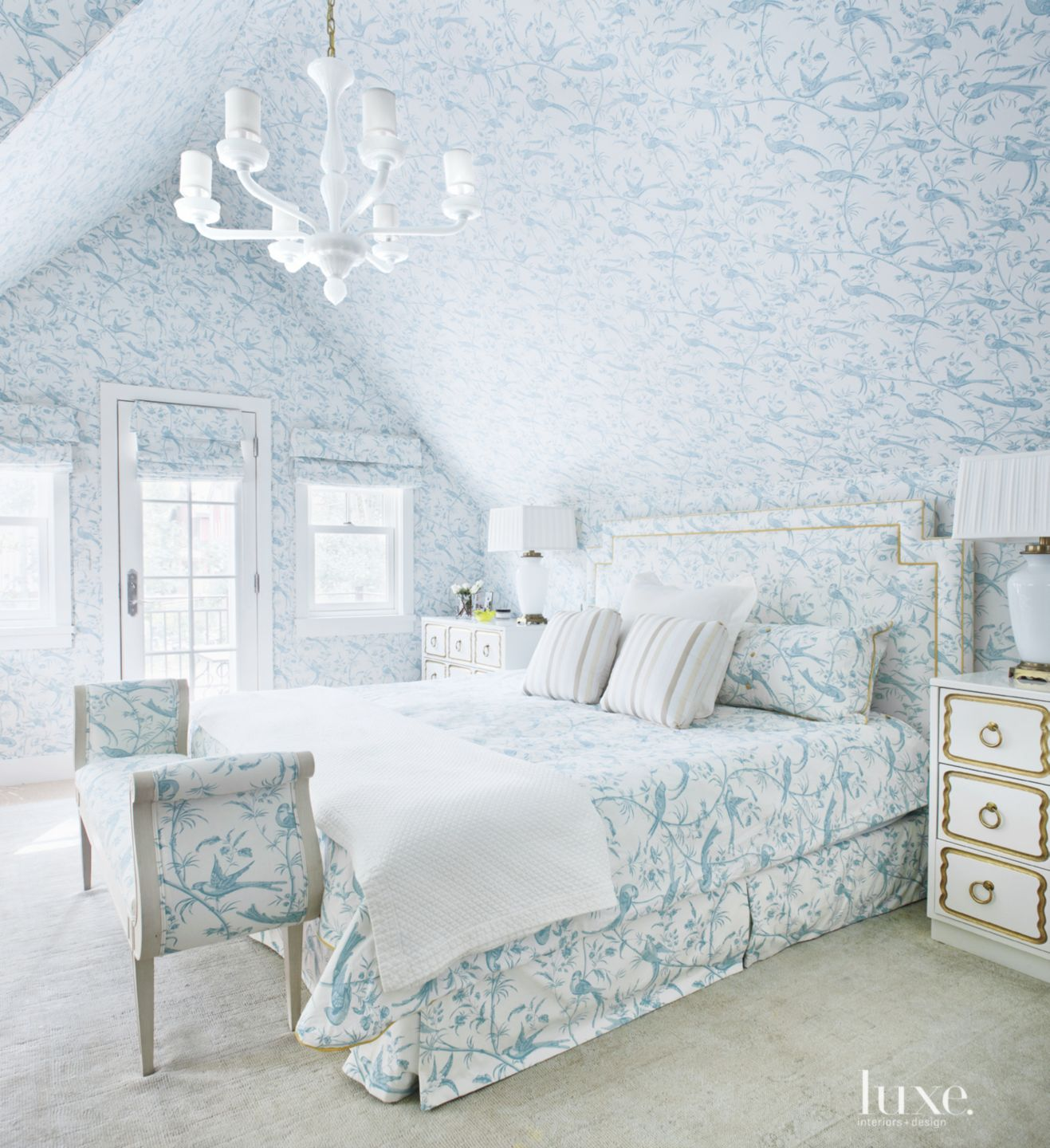Traditional Patterned Bedroom with Gold Accents