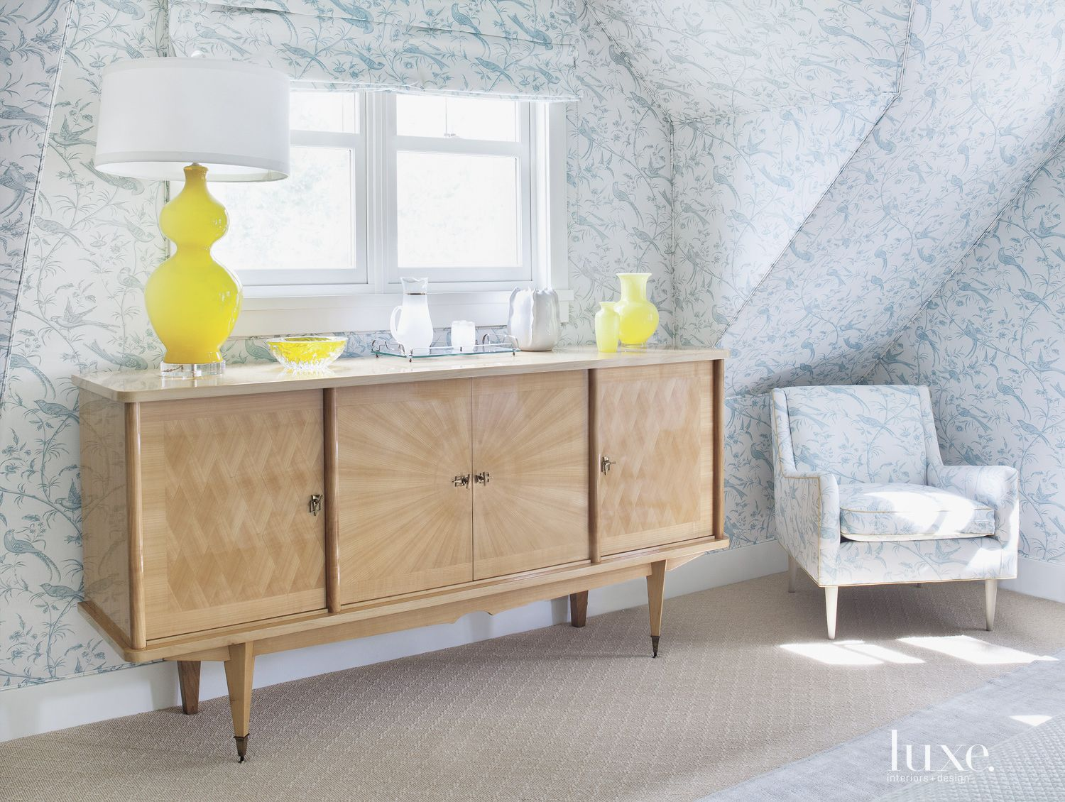 Contemporary Buffet in Traditional Patterned Bedroom