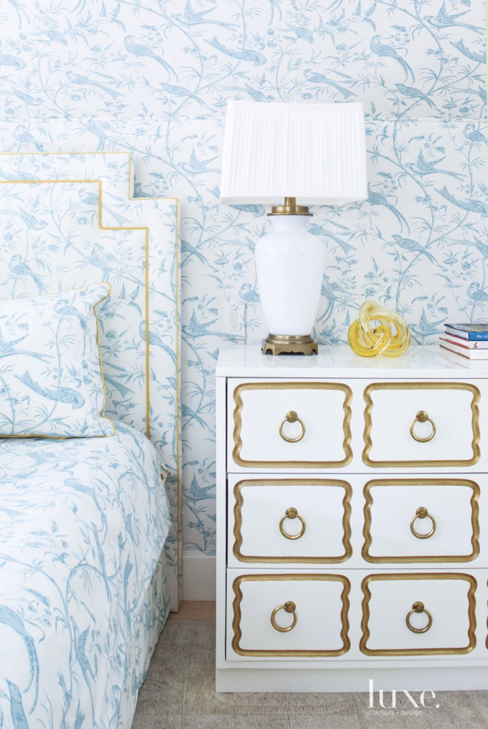 White Opaline Lamp in Traditional Blue Bedroom