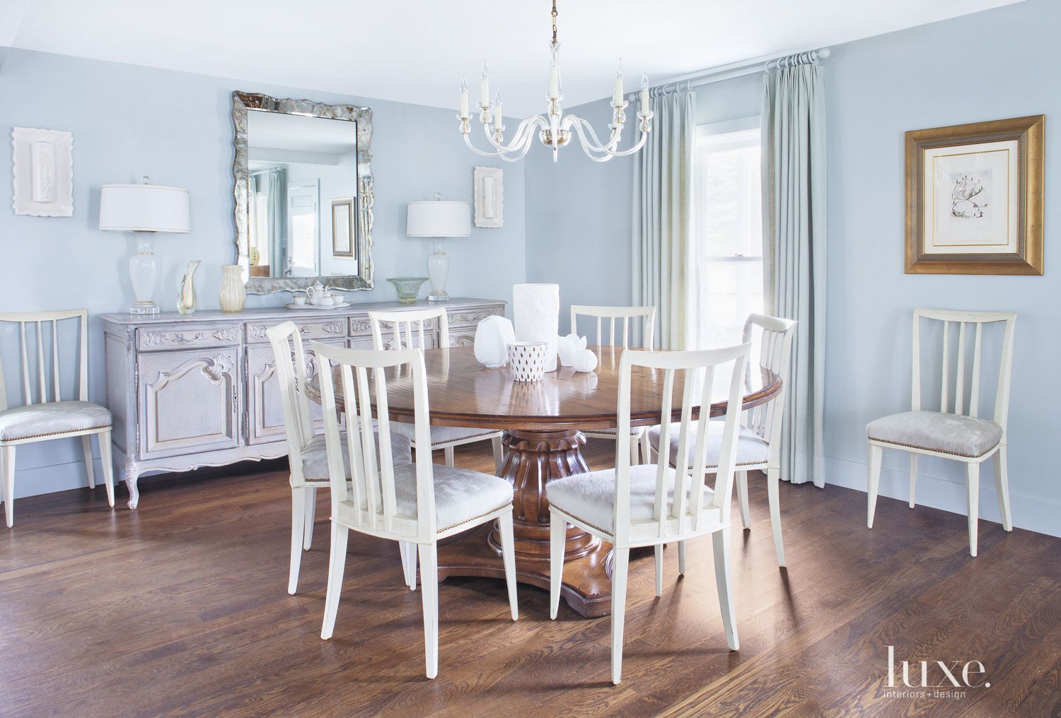 Traditional Blue Dining Room with Elegant Decor