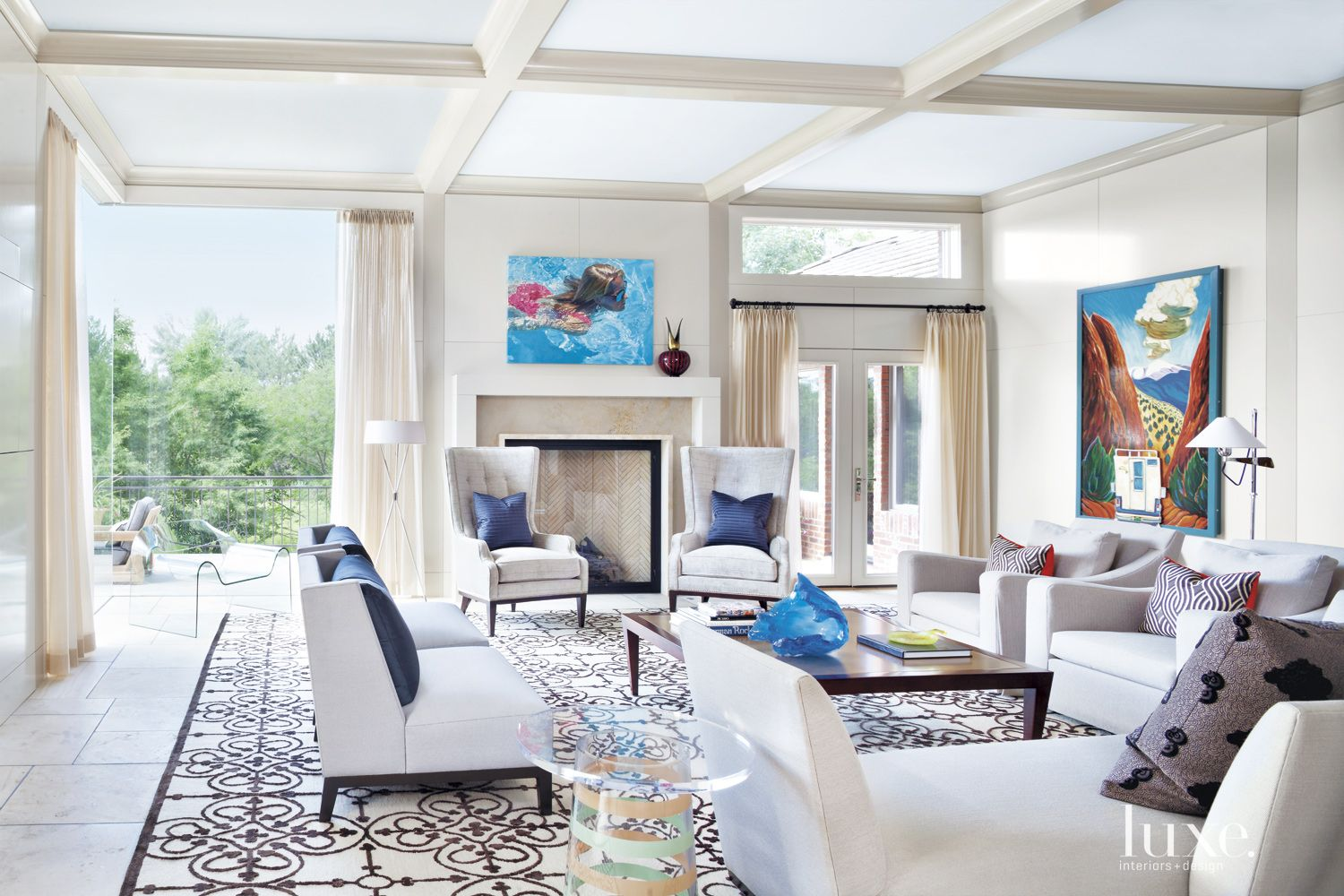 Contemporary Cream Family Room with Coffered Ceiling