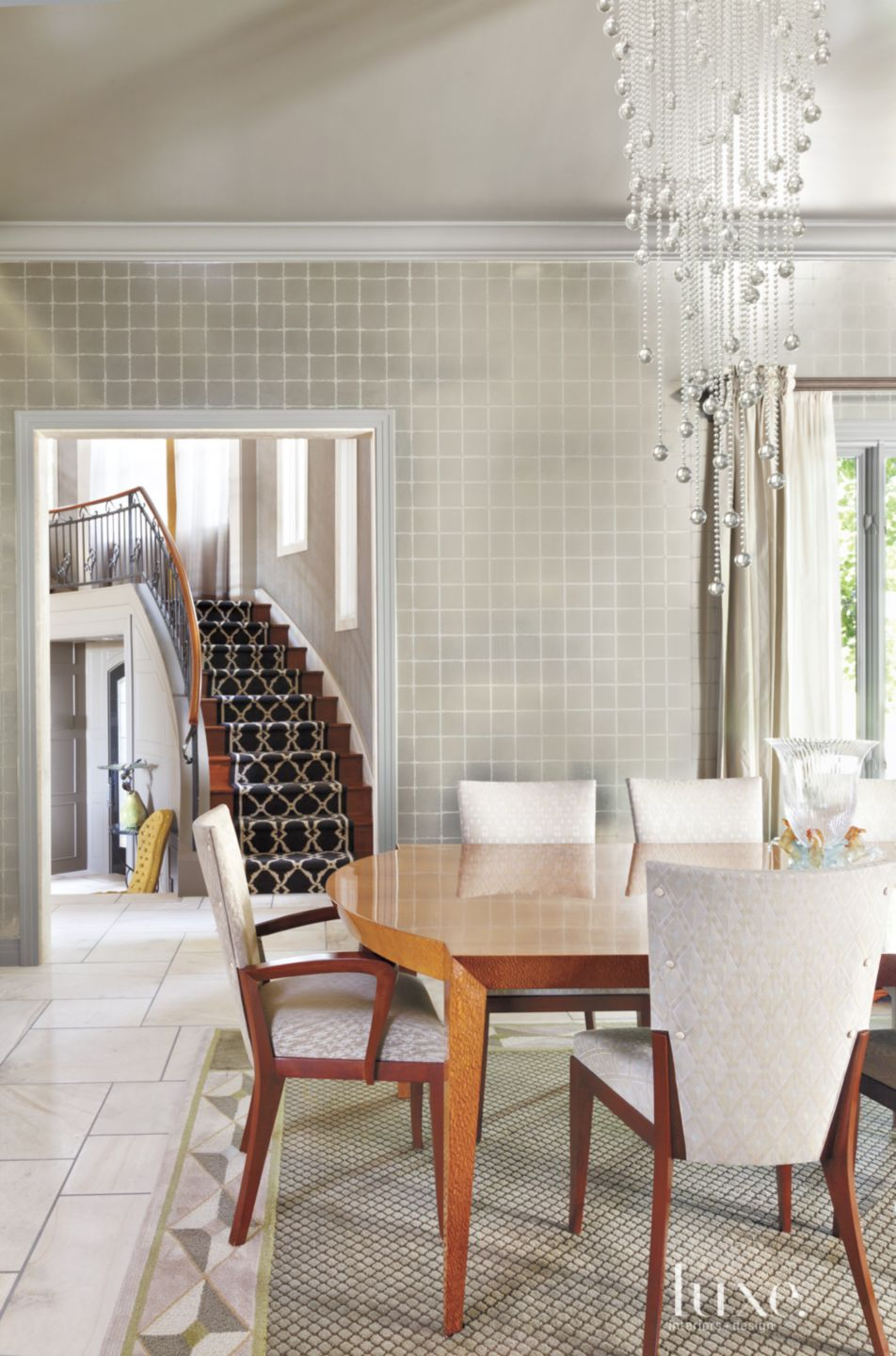 Contemporary Dining Room with Metallic Wallpaper