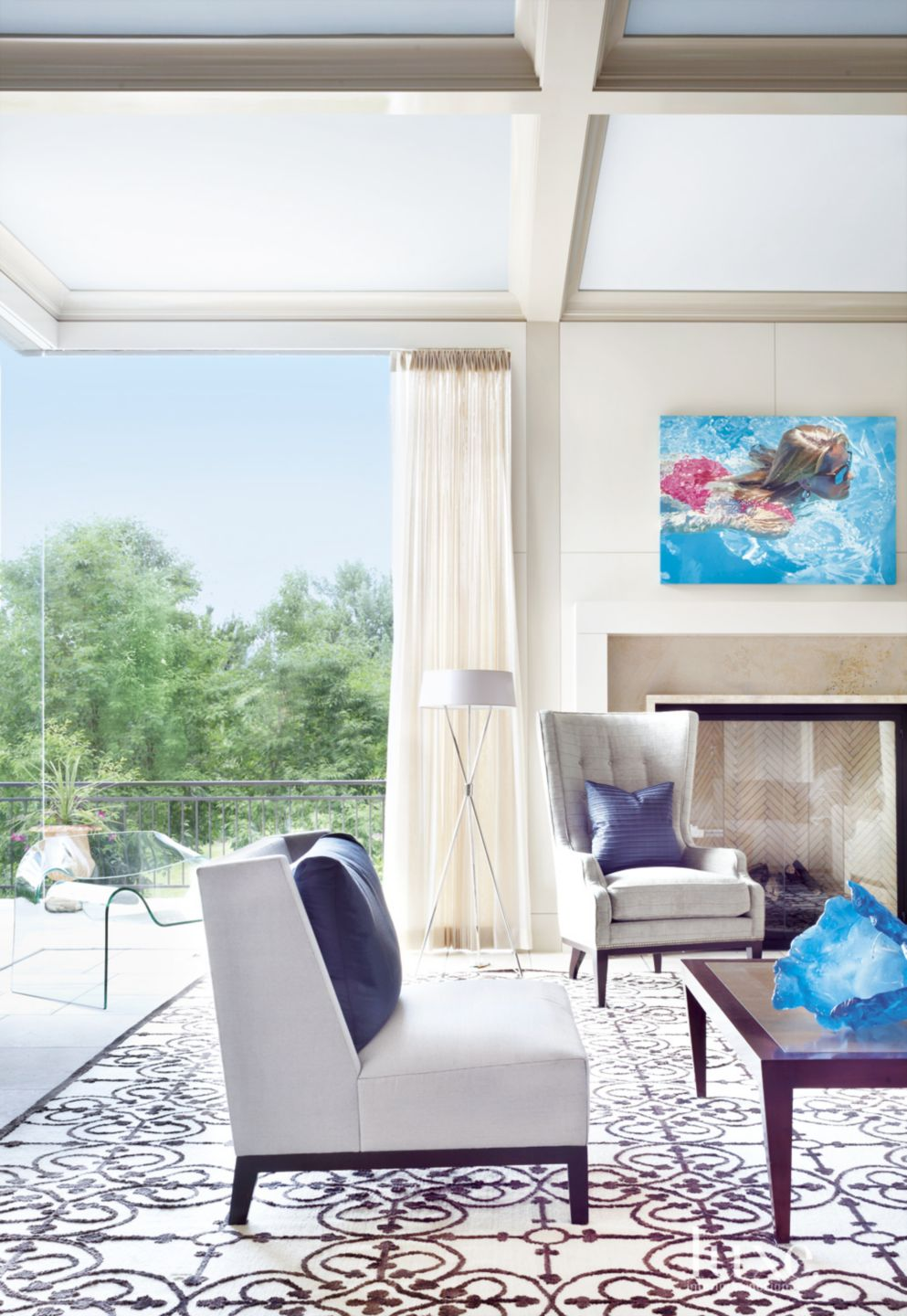 Contemporary Cream Family Room Painting