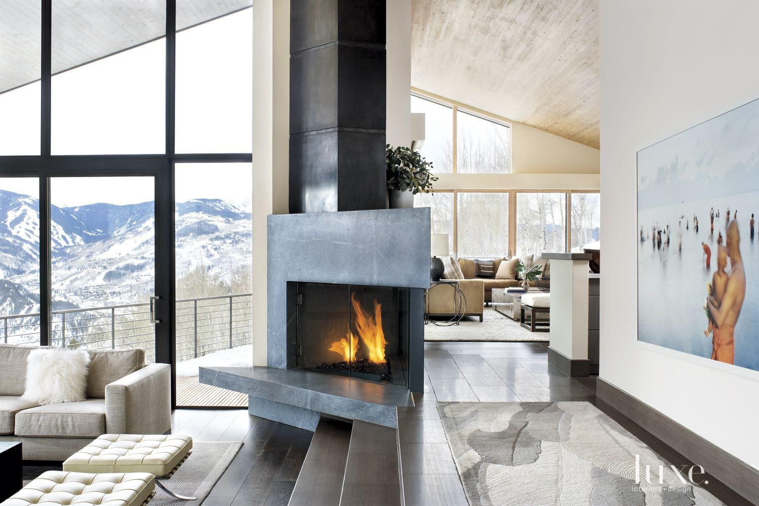 Neutral Mountain Living Room Fireplace