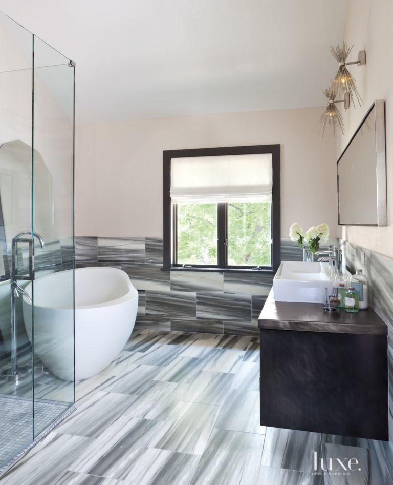 Modern Master Bath With Gray Marble Tilework Luxe Interiors Design - Modern-master-bathroom