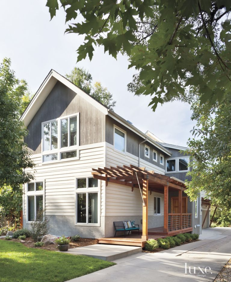 Gray Modernist Style Farmhouse Front Elevation