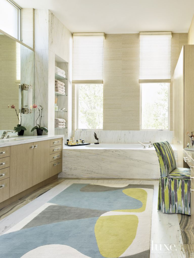 Contemporary Neutral Bathroom with Ikat Chair - Luxe Interiors + Design