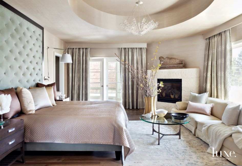 Traditional Neutral Master Bedroom with Tufted Headboard ...