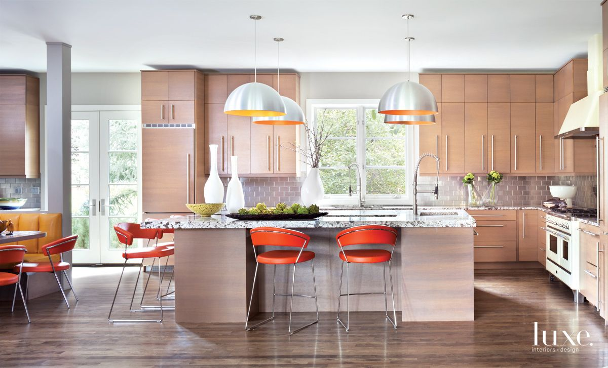 Eclectic Neutral Kitchen with Light-Hued Wood Cabinetry