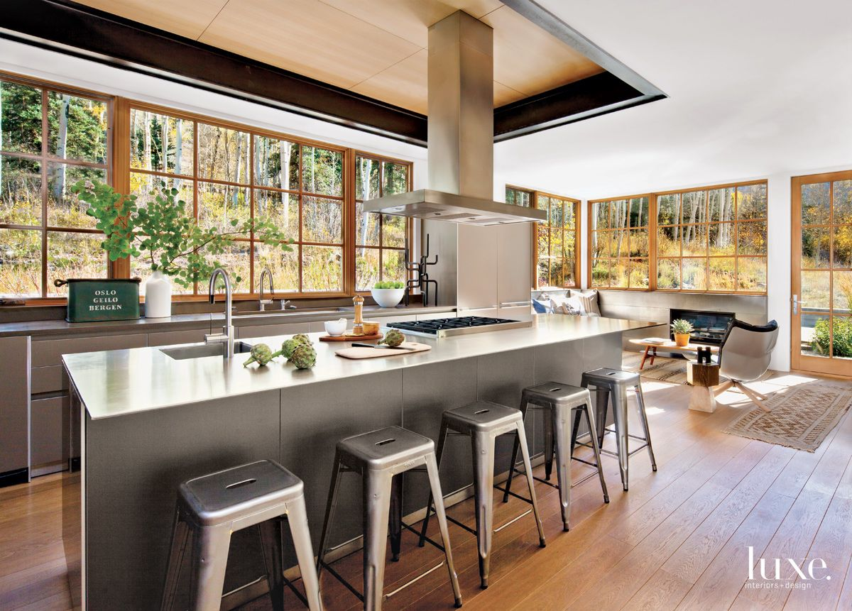 Modern White Kitchen with Stainless Steel-Topped Island