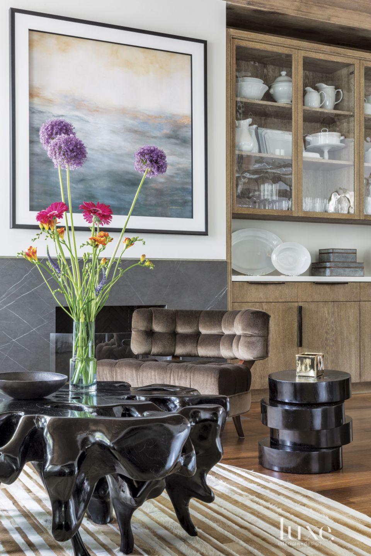 Transitional White Living Room Built-Ins