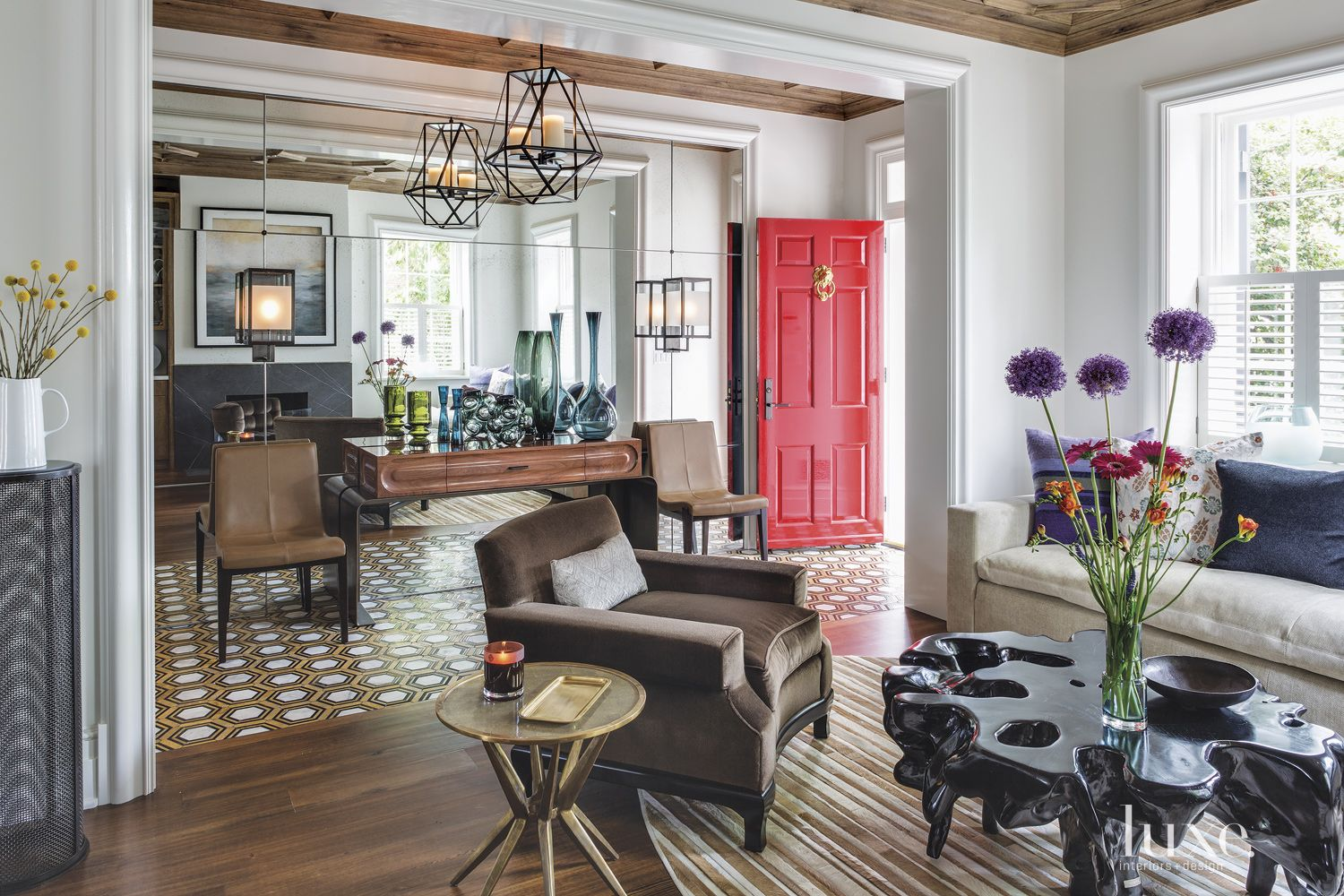Transitional Mirrored Entry Hall