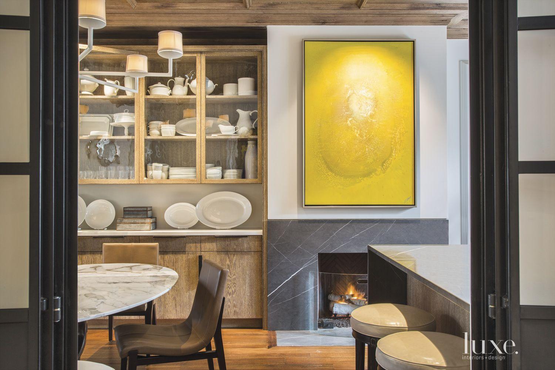 Transitional White Kitchen Fireplace