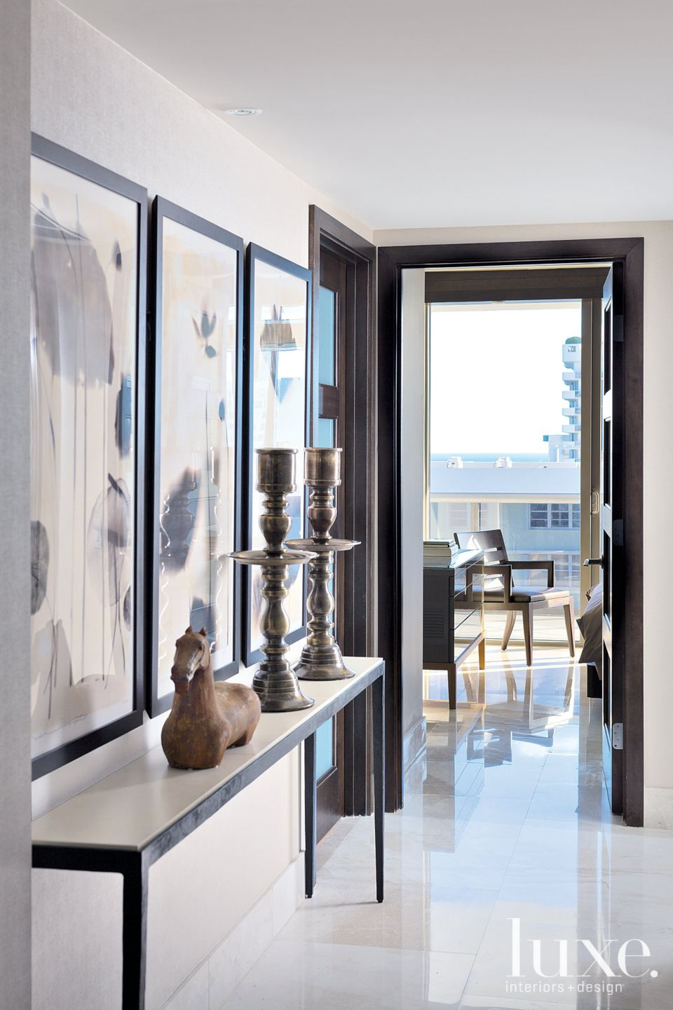 Contemporary Neutral Hall with Floral Triptych