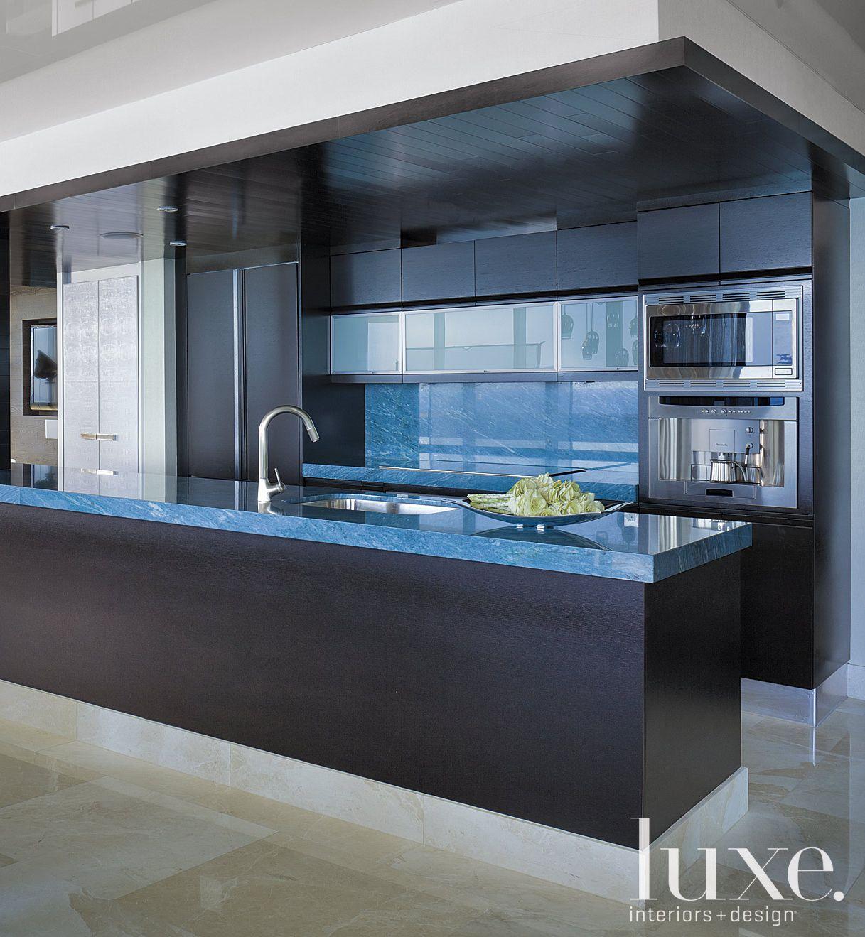 Contemporary Black Kitchen with Blue Quartzite Counters