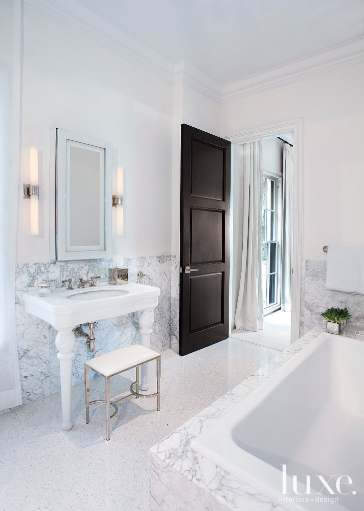Contemporary White Bathroom with Small Bench - Luxe Interiors + Design