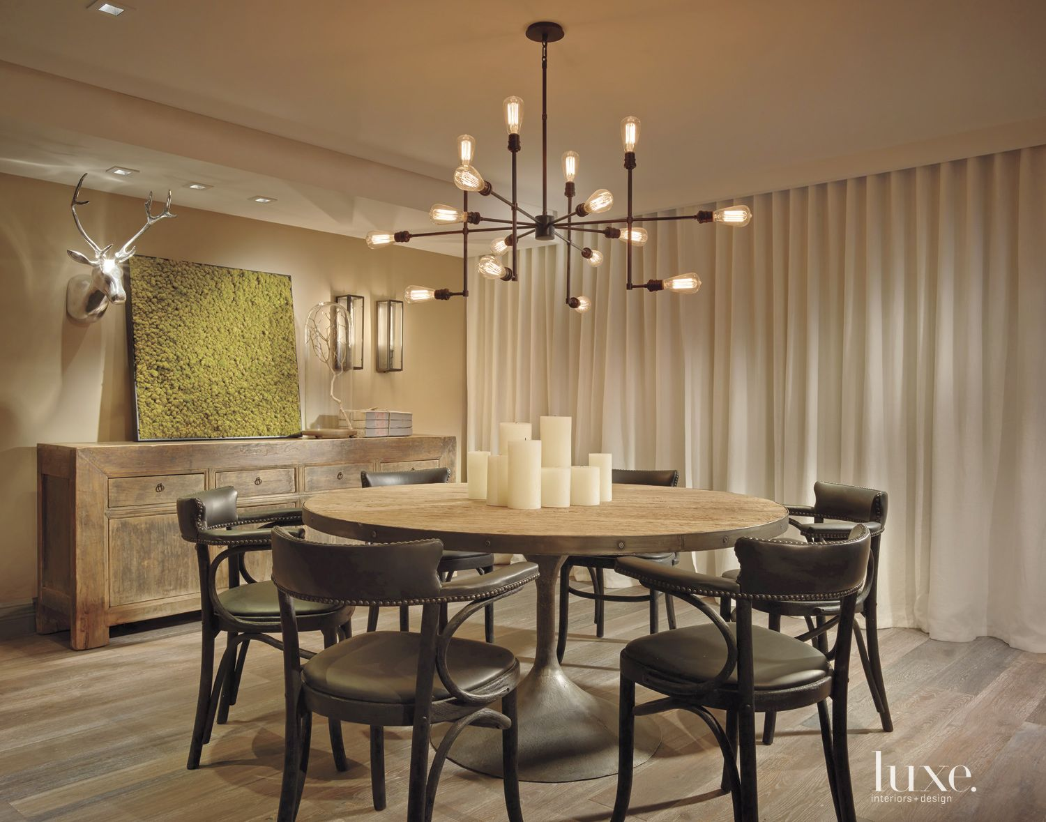 Eclectic Neutral Dining Room with Industrial Chandelier