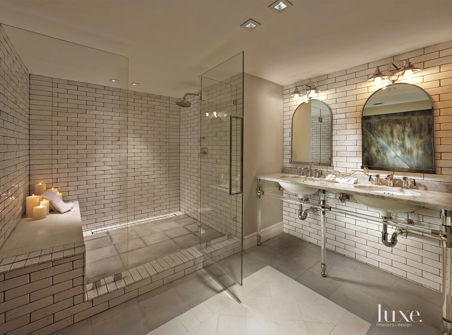 Eclectic White Bathroom with Brick-Inspired Tile