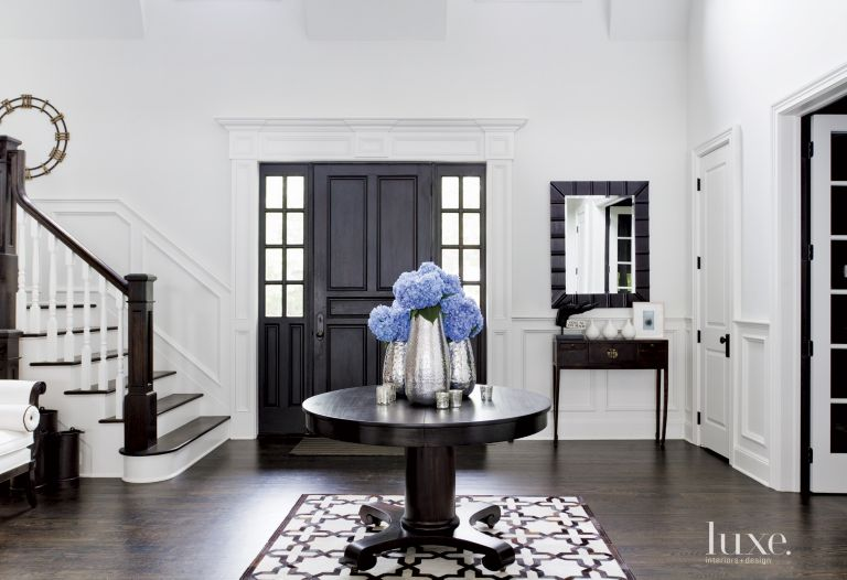 Contemporary White Foyer with Antique Center Table - Luxe Interiors ...