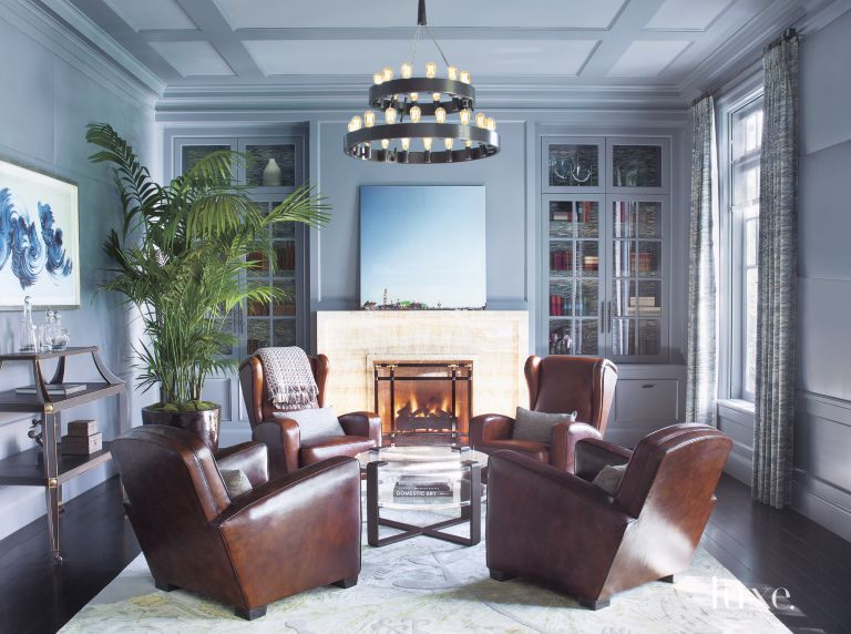 transitional blue paneled study luxe interiors design