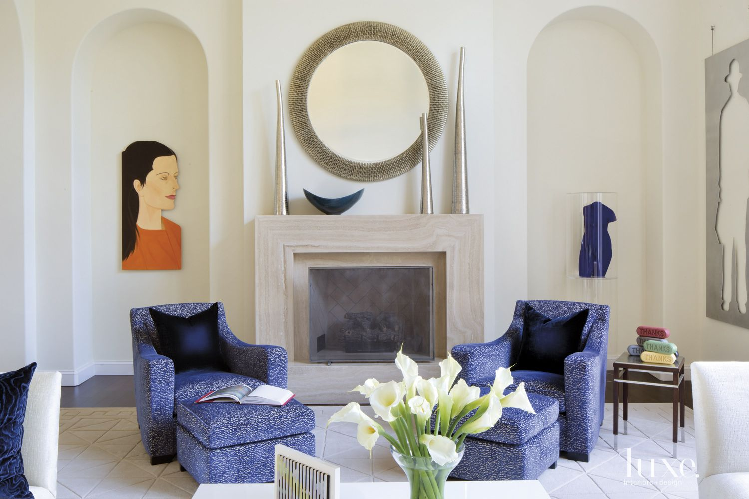 Contemporary White Living Room with Arched Niches