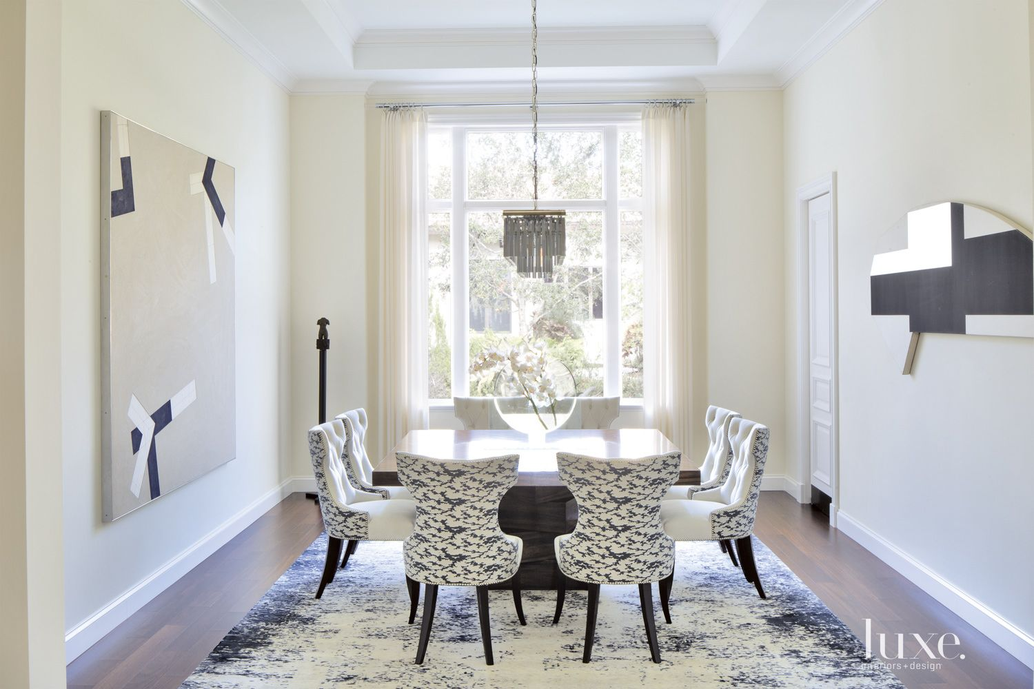 Contemporary Black-and-White Dining Room