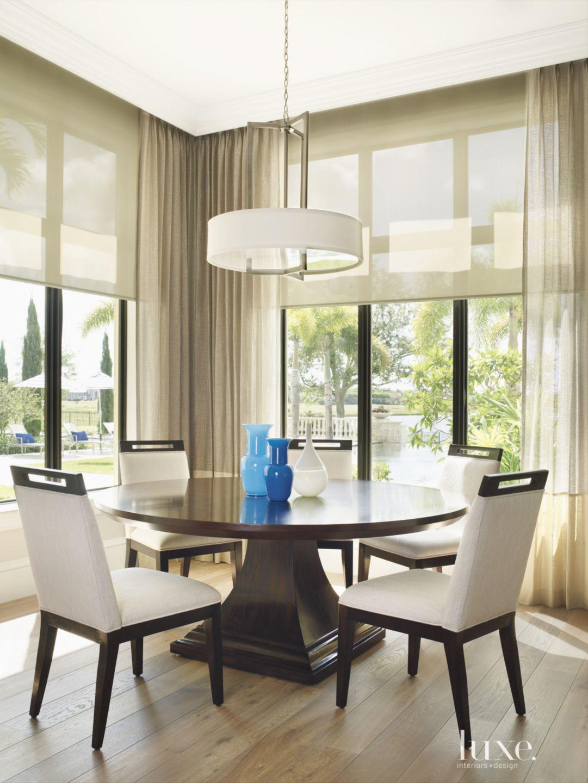 Contemporary Cream Breakfast Room with Drum Shade Pendant