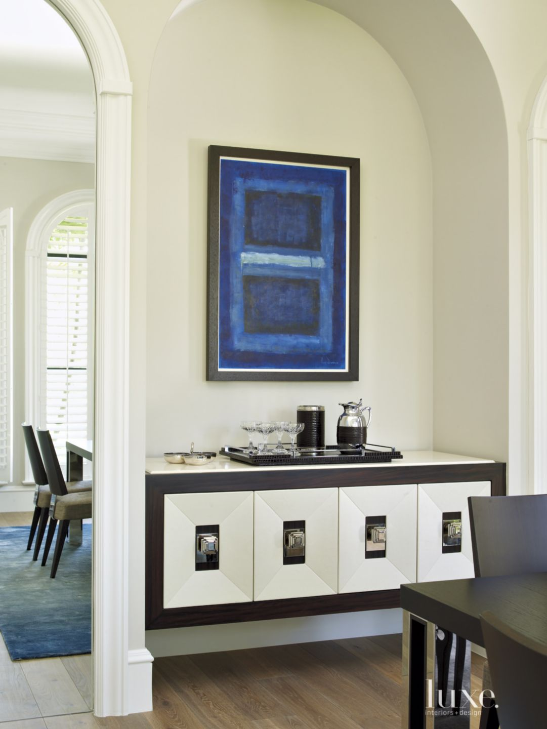 Contemporary White Dining Room Detail with Bar Alcove