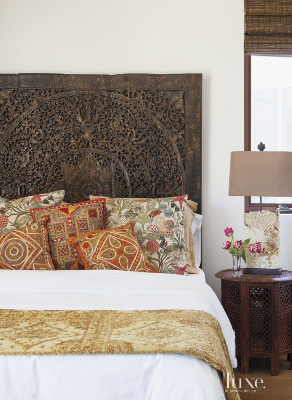 Contemporary White Bedroom with Carved Teak Headboard - Luxe ...