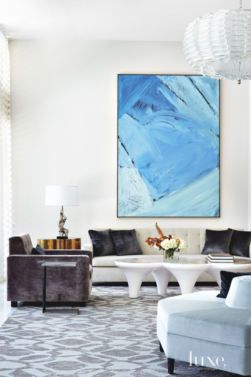 Modern White Living Room Vignette with Painting