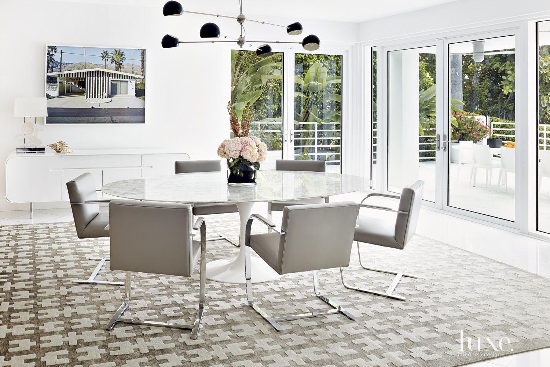 Modern White Gallery-Like Dining Room