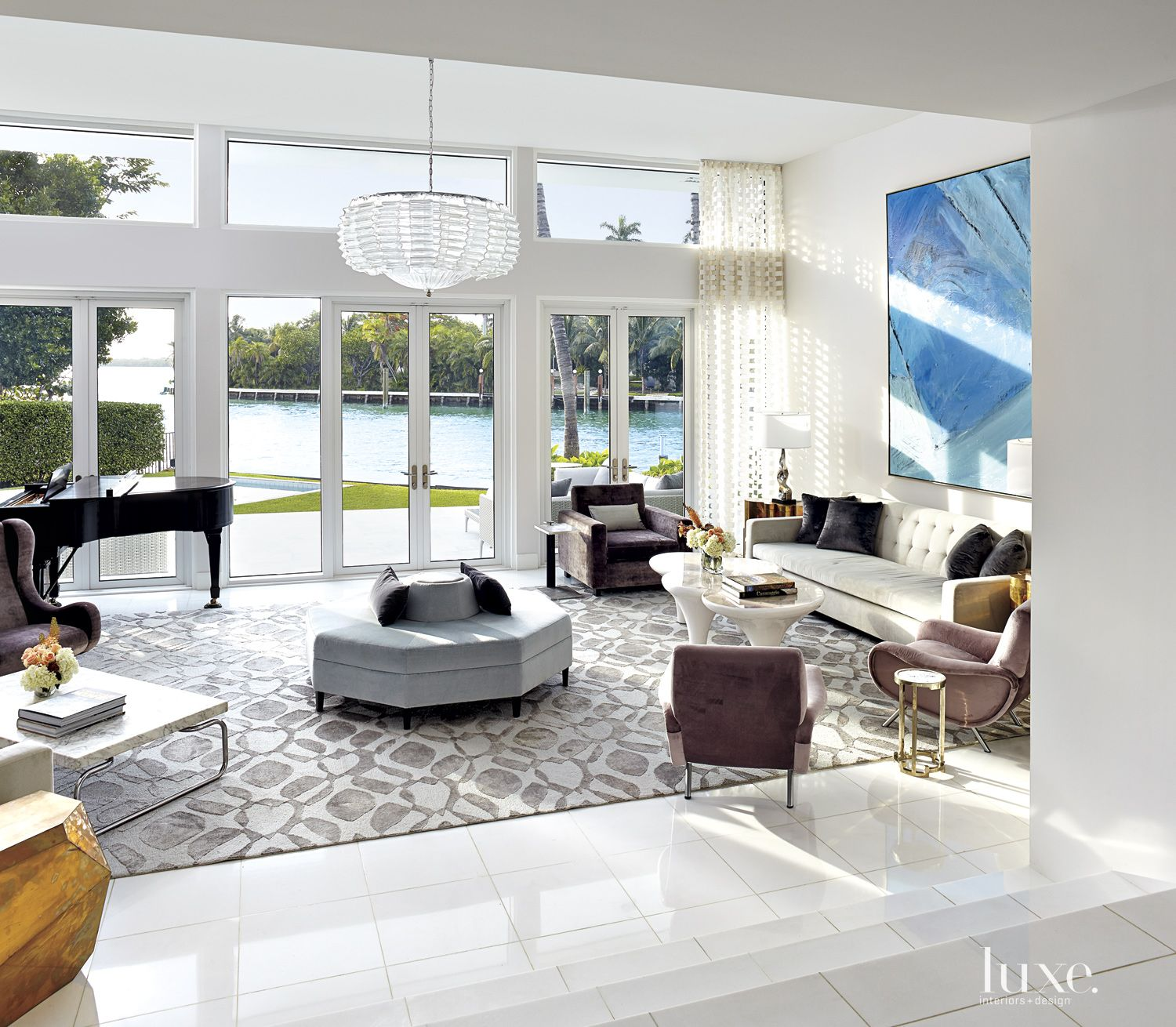 Modern White Living Room with Waterfront Views